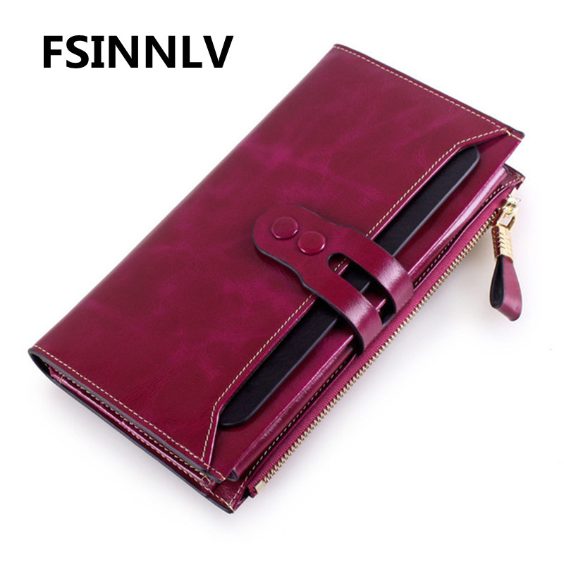 FSINNLV RFID Genuine Leather Wallet for Women High Quality Hasp Long Wallet Female Purse Women Wallet Card Holder Clutch HB73