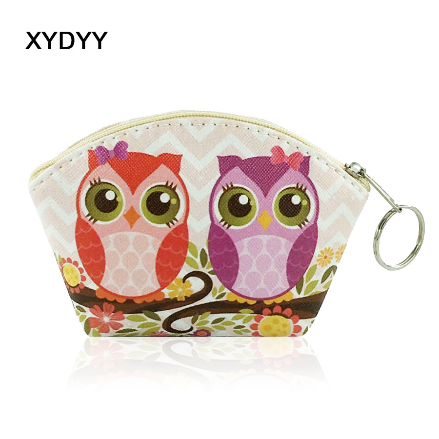 XYDYY Kawaii Owl Animal Prints Women PU leather Coin Purse Arc Kids Coin Purse Wallet Photos Card Holder Girls Wallet Handbag