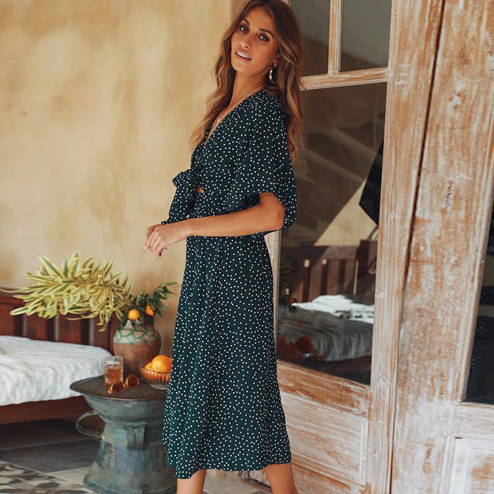 women summer casual bohemian dress Women Short Sleeve V Neck Wrap Boho Dress 10