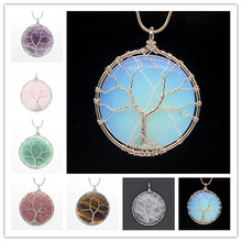 Kraft-beads Popular Silver Plated Wire Wrapped Tree of Life Round Amethysts Stone Pendant Opal Jewelry