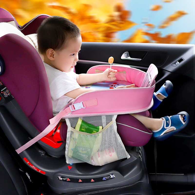 Mutifunctional Baby Cartoon Car Seat Tray Waterproof Stroller Holder Kids Toy Food Water Holder Portable Car