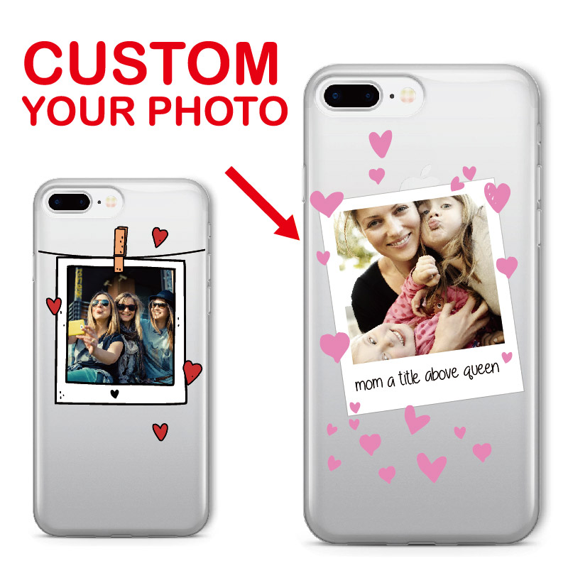 Personalized Custom Photo Frame Lover Fun Text Soft Clear Phone Case For iPhone 6 6S XR XS Max 7