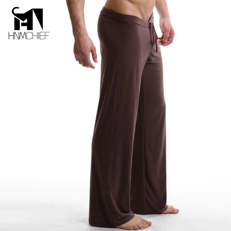 dc85b622f8 Sleep Bottoms Men s casual trousers Soft comfortable brand-clothing Sexy  male pajamas Mens Lacing pants