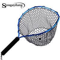 Sougayilang pliable mouche pêche Brail bleu doux en caoutchouc épuisette 54x30x24cm Eva poignée mouche pas cher filets de pêche matériel de pêche