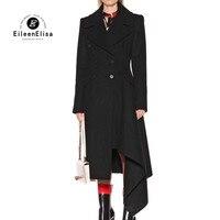 Women Wool Coat 2018 Winter Long Black Jackets Coat Overcoats Irregular hem Double Breasted Fashion Party Coat