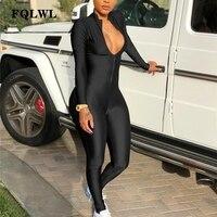 FQLWL с длинным рукавом черный сексуальный Bodycon комбинезон для женская обувь на застежке-молнии V шеи Тощий комбинезон Для женщин s Комбинезон ...