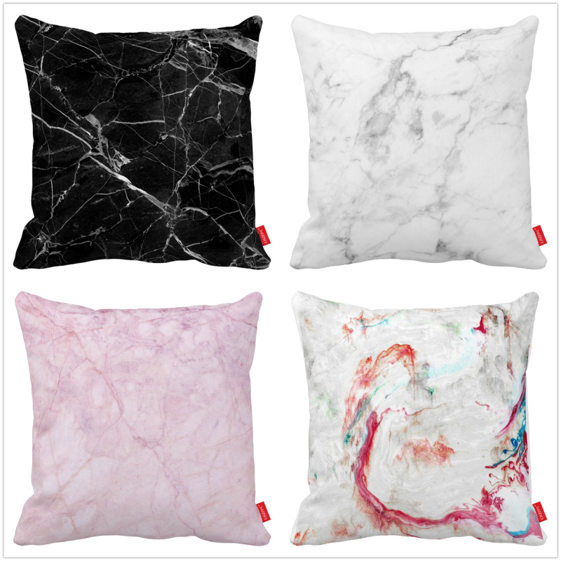 Black And White Decorative Pillow Cases : ?Pink Black White Awesome Modern ? ???????? ? Marble Marble Print Decorative Throw Pillowcase ? ...