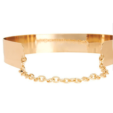 Ladies Gold Silver Metallic Obi Waist Belt