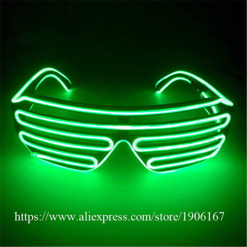 Wholesale Price El Wire Party Sunglasses Colorful LED Lighting Shutter Glasses Flashing Led Luminous Stage DJ Props 10Pcs/Lot