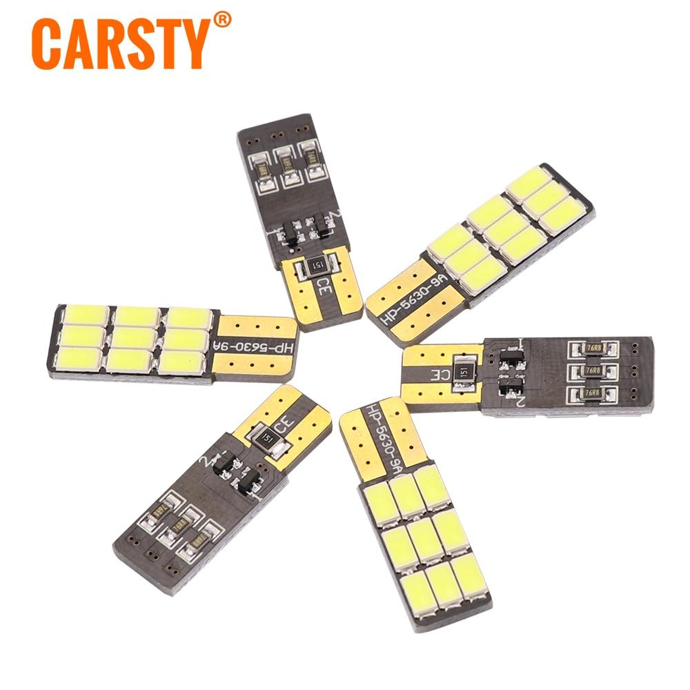 Carsty Car Led T10 W5W 5730 9 LED 3W Error Free Canbus Marker Bulb Xenon Light For Car 5W5 Dome Festoon C5W C10W Car-styling цена