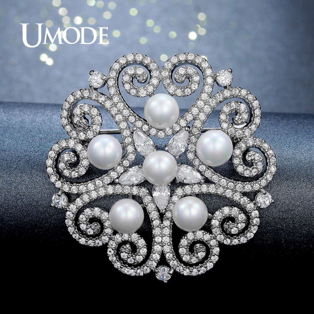 UMODE Fashion Pearl Brooches Jewelry for Women Fashion Large Rhinestone Crystal Love Heart Shape Flower Brooch Pin Collar UX0005 girls kids denim dresses girls 2018 new spring girl long sleeve jeans dress children s brand clothing toddler clothes w8368
