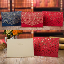 1pcs Blue Red Luxury Flora Laser Cut Wedding Invitation Card Baby Shower Print Wedding Envelopes Event Party Wedding Decoration(China)
