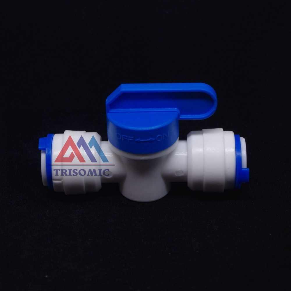 """1/4 """"مضمنة أنبوب الحنفية إيقاف الكرة صمام تركيب سريع اتصال حوض السمك RO تصفية المياه نظام التناضح العكسي"""