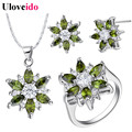 Fashion Purple Jewelry Sets for Women Crystal Necklace for Women Red Rings Flower Pink Earrings Joyas Uloveido Bijouterie T508