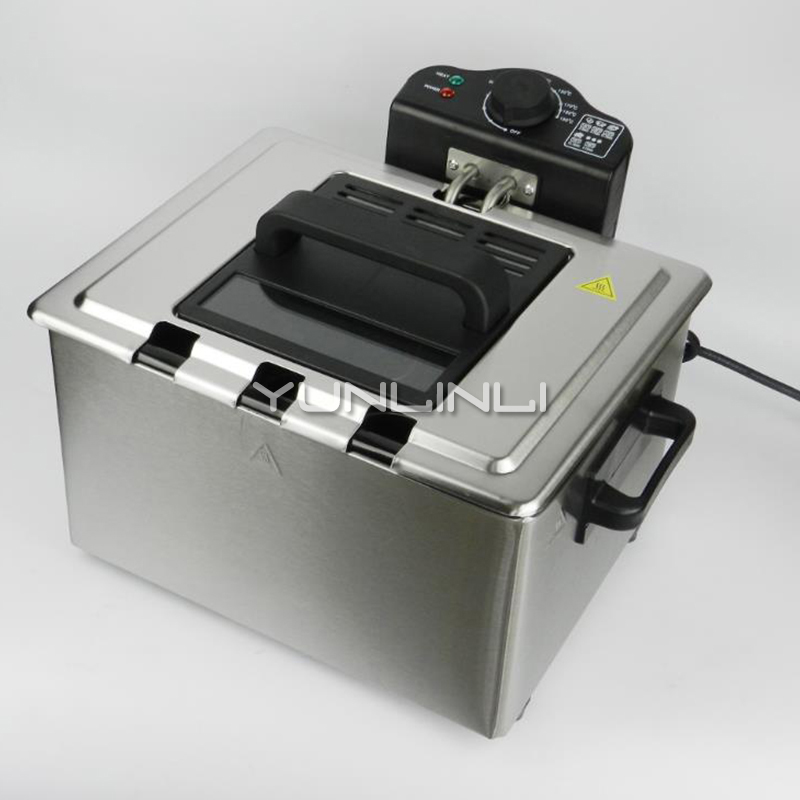 5L Electric Deep Fryer Commercial/Household Electric Deep Frying Machine Stainless Steel Frying Cooker WJ-801