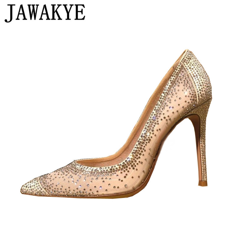 Air mesh pumps women Pointed toe bling bling crystal studded high heels bridal wedding shoes sexy