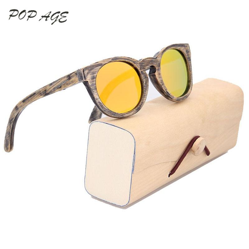9caa319e2 2017 ريترو تصميم الخيزران نظارات شنط مربع الفتيان الفتيات نظارات شمسية  مستديرة دائرة الأزياء مصمم صغيرة مستديرة