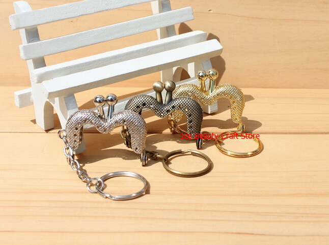 4cm 20pcs/lot M style coin purse metal frame with key ring kiss lock clutch clasp for purse embossed metal frames handle S0024