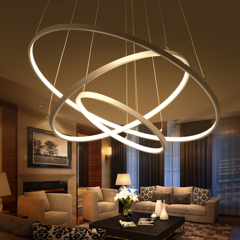 Modern pendant lights for living room dining room 3 2 1 circle rings acrylic aluminum body led - Modern pendant lighting for dining room ...
