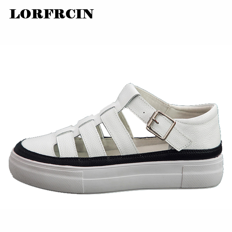 31906fe86a70 Geunine Leather Platform Sandals Women Gladiator Sandals For Woman Rome  Summer Style White Casual Shoes Ladies