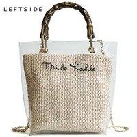 LEFTSIDE Лето 2018 маленькая сумочка прозрачный женские сумочки цепи соломенная сумка леди дорожная пляжная через плечо мешок отдыха