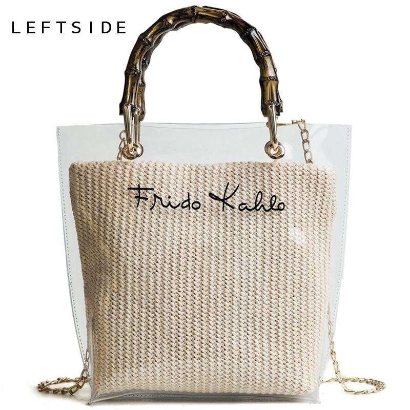 LEFTSIDE Summer 2018 Small Handbag Transparent Women Hand Bags Chain Straw bag Lady Travel Beach Shoulder Cross Body Bag Holiday