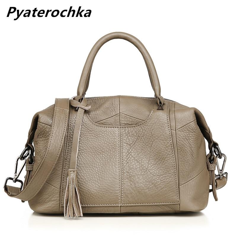 Pyaterochka Women Genuine Leather Handbag Boston Large Capacity Shoulder Bag Fashion 2018 New Ladies Handbags Luxury