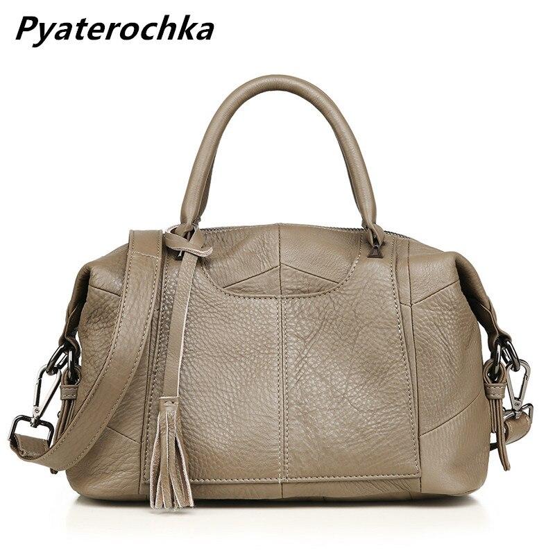 Pyaterochka Frauen Aus Echtem Leder Handtasche Boston Große Kapazität Schulter Tasche Mode 2018 Neue Damen Handtaschen Luxus Leder Tasche-in Schultertaschen aus Gepäck & Taschen bei  Gruppe 1