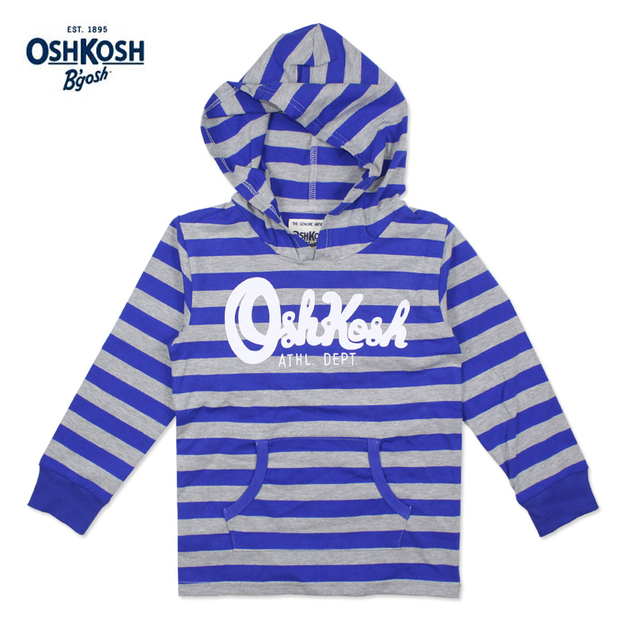 Meney's / OshKosh 2017 Kids Hoodies Boys Striped Blue Gray Pocket Sweatshirt 100% Cotton Baby Full Sleeves Hooded Clothes Child