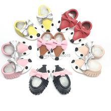 7 Farve High Quality Håndlavet Retail Bow Ægte Læder Baby Sko Fox Style Baby Piger Sko Nyfødte Soft Sole Baby Moccasins