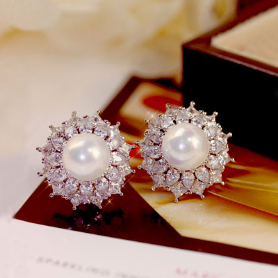 Fashion Luxury High Quality Big multilayer flower Pearl Earrings Lace Side CZ Crystal Stone Women Bride Jewelry S925 Silver Pin