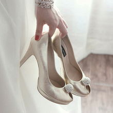 Women's Evening Peep Toe High Heels High Quality Prom Evening Party Dress Women Lady Bridal Wedding Shoes