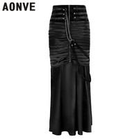 Aonve Women Long Skirt Gothic Jupe Plus Size 2XL Vintage Wrap Skirt High Waist Black Goth Skirts Party Clubwear Punk Clothes