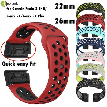 26mm Silicone smart Watch Band Easy Quick Release Fit Strap for Garmin Fenix 3 3HR/Fenix 5X/Fenix 5X Plus Sport Wrist Band Strap quick easy fit genuine leather watchband 26mm for garmin fenix 5x 3 3hr watch band stainless steel clasp strap wrist bracelet