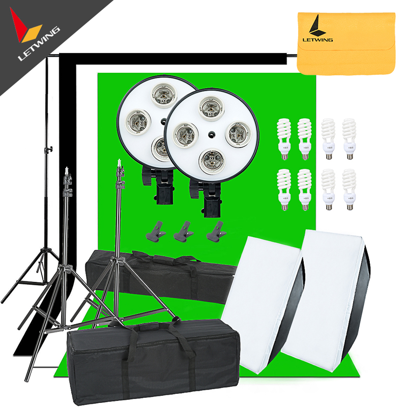 1800W Photo Studio Continuous Lights Softbox 3X Backgrounds Backdrop & Stand Kit  portable photo studio 4 photographic backgrounds 1 camera stand 2 halogen lights w carrying bag