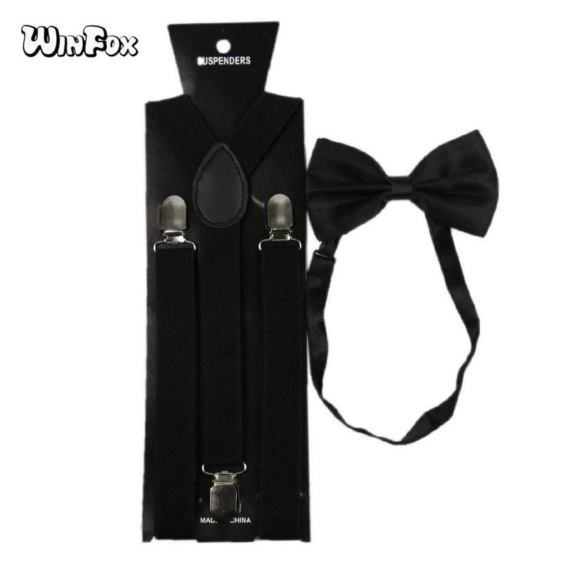 Winfox Vintage Suspenders Bow Tie Set Men Women Black Suspensorio Bowtie Braces Trouser Shirt Suspenders