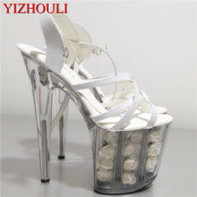 20 cm flor blanca zapatos de boda mujeres motocicleta zapatos de tacón alto  8
