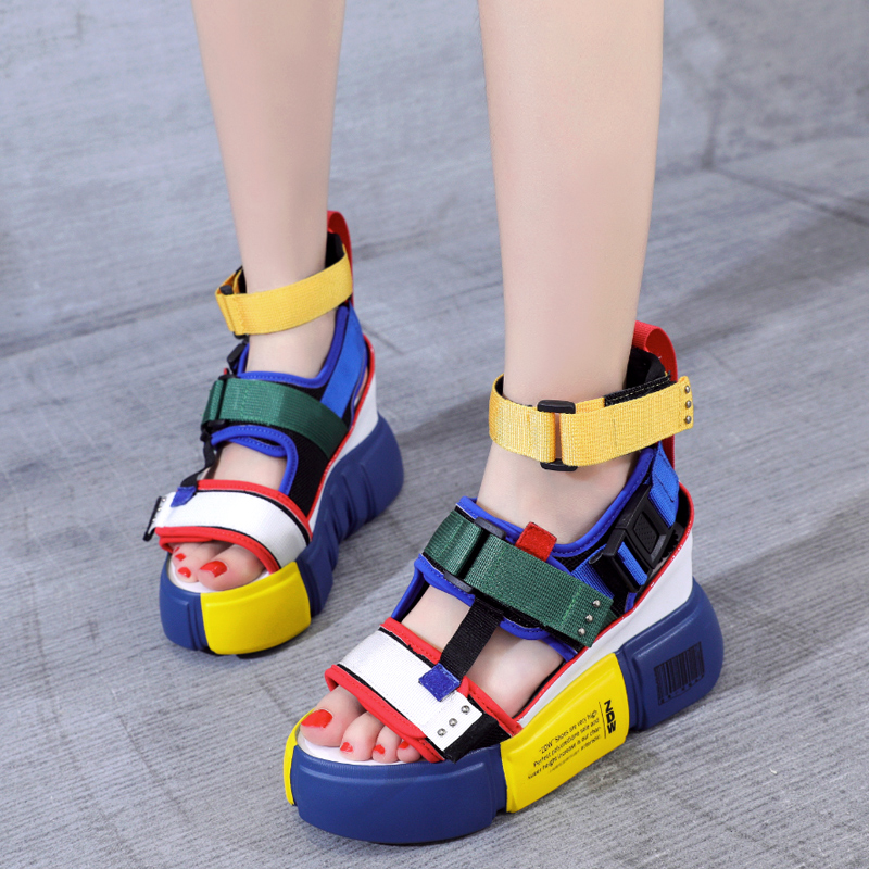 Dropshipping Blue Sandals Platform Women 2019 Ladies Casual Shoes Wedge High Chunky Heel Sandals Summer Shoes High Ankle ShoesDropshipping Blue Sandals Platform Women 2019 Ladies Casual Shoes Wedge High Chunky Heel Sandals Summer Shoes High Ankle Shoes
