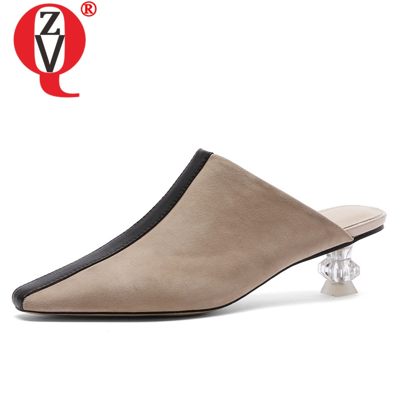 ZVQ shoes women summer new fashion sexy mixed colors square toe women slippers outside med strange