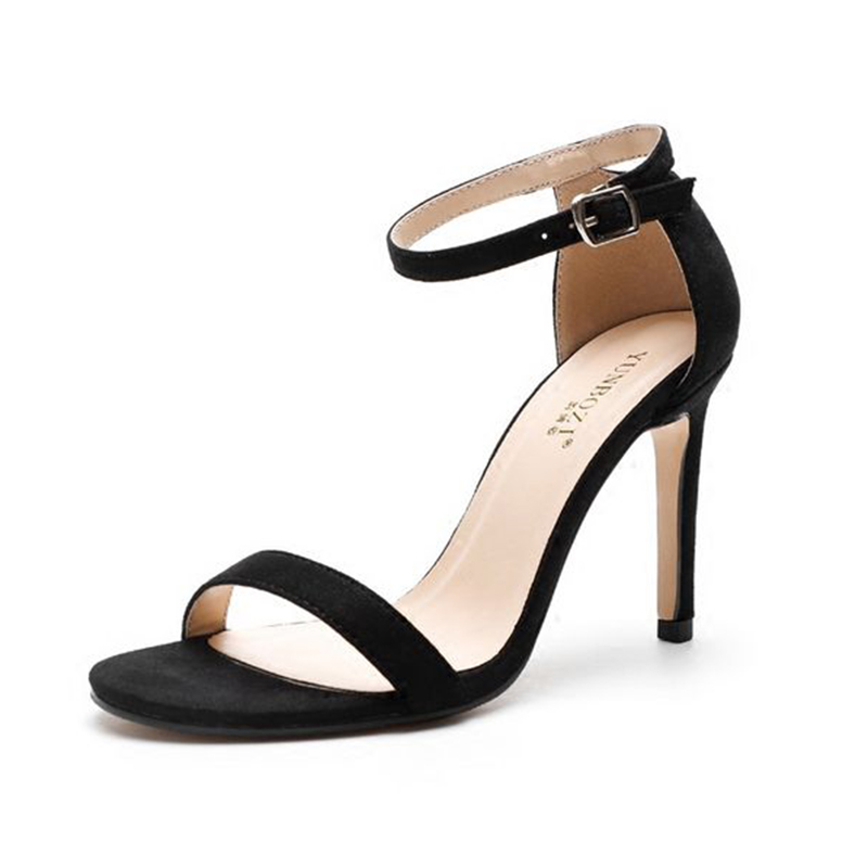 2018 summer new style European and American Packs and heels belt with thin sandals and black heels women Sandals