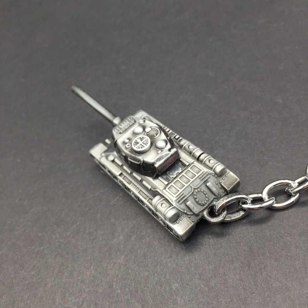 Mode Spiel WOT Welt Der Tanks Keychain Männer Vintage Silber Tank Schlüssel Kette Tasche Charme Schlüssel Ring Männlichen Souvenir Geschenk schmuck Schmuckstück