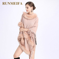 RUNMEIFA 2018 Women Fur Shawls With Tassel Sweater Shawl Poncho Faux Fur Stoles Women Cashmere Stole Shawl Pashmina Poncho