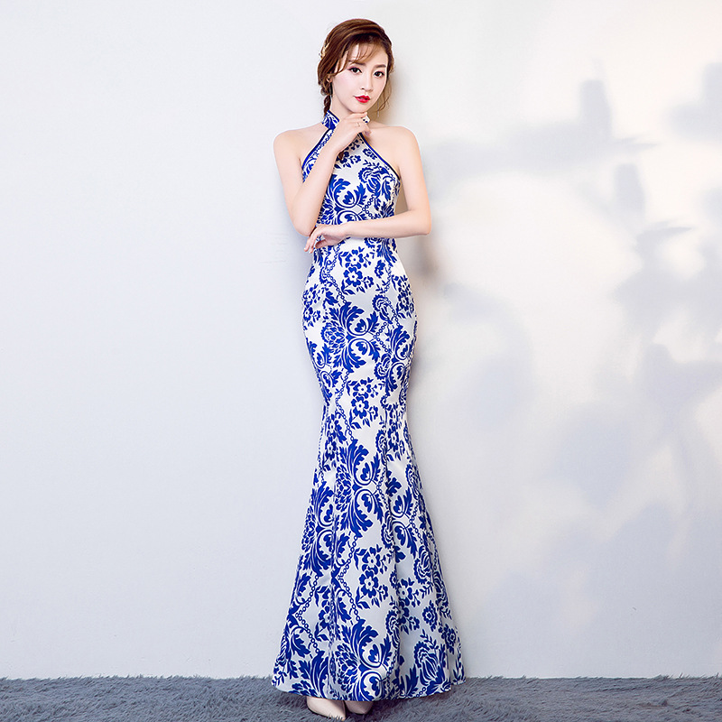 New Long Blue Halter Strapless Qipao Chinese Women Traditional Satin Slim Fishtail Cheongsam Elegant Noble Banquet Dress S-XXXL