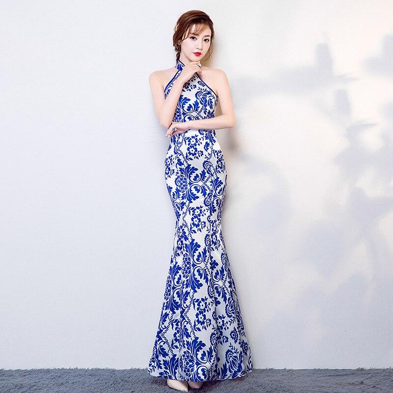 Nouveau Long licou bleu bretelles Qipao chinois femmes traditionnelles Satin mince queue de poisson Cheongsam élégant Noble Banquet robe S-XXXL