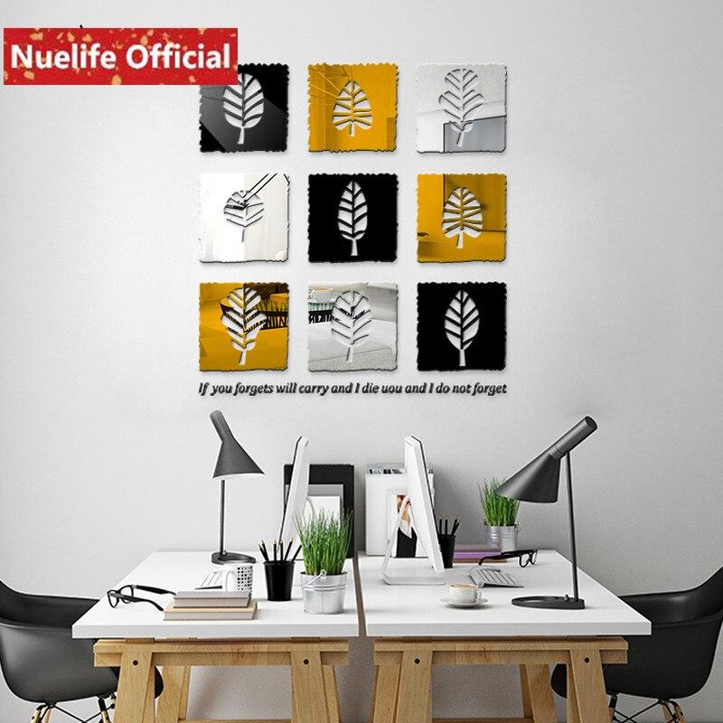Plante carrée feuille conception acrylique 3d miroir stickers muraux salle à manger chambre porche fond décoration miroir autocollants N2