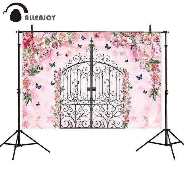 allenjoy photography backdrop pink flower garden gate butterfly girl