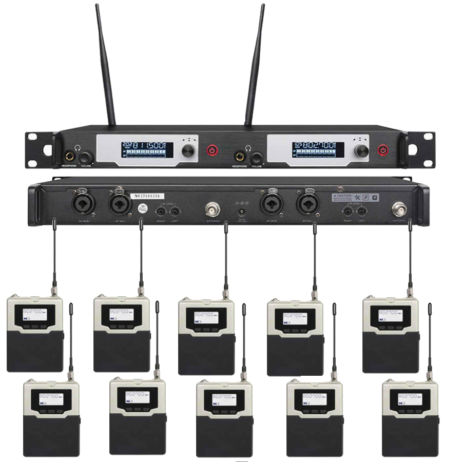 UHF Best Stage Wireless In Ear Monitor System Inear Headphone Stage Monitoring Dual Channels 150M For Singers with 10 Receivers free shipping micwl g3 dual channel uhf wireless monitor monitoring system 1 transimtter with multiple receivers