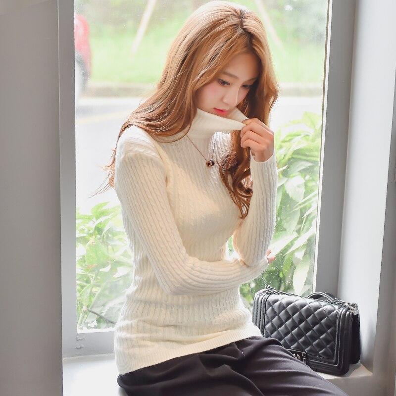Otoño Invierno mujer Suéter de Cuello Alto Suéter que basa La Camisa Delgada de