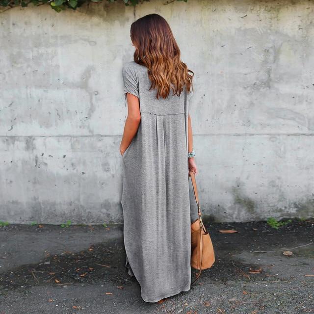 2017 Womens Loose Summer Beach Short Sleeves Floor-Length Long Dress female vestido gift wholesale A1000