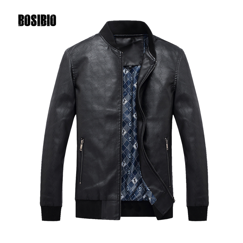2017 Men Black PU Leather Jacket Male stand Collar Casual Coats with zipper Pockets Top Quality Autumn Winter Clothing 8808
